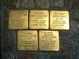 Stolpersteine outside a building