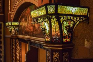 Lights from Belasco stage, photo Rick Bruner, New York Landmarks Connservancy